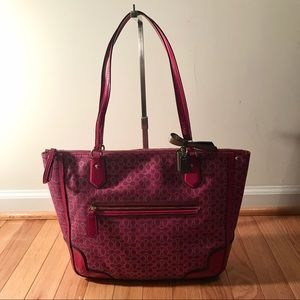 COACH Hot Pink Gold Sparkly Signature Patent Tote